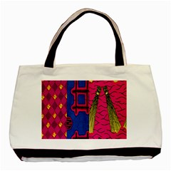 Broom Stick Gold Yellow Pink Blue Plaid Basic Tote Bag (two Sides)