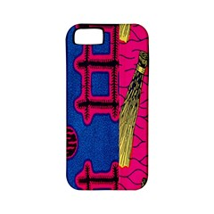 Broom Stick Gold Yellow Pink Blue Plaid Apple Iphone 5 Classic Hardshell Case (pc+silicone)