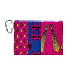 Broom Stick Gold Yellow Pink Blue Plaid Canvas Cosmetic Bag (M)