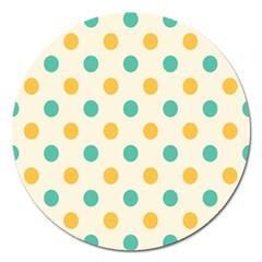 Circle Blue Orange Magnet 5  (round)