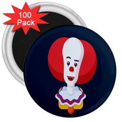 Clown Face Red Yellow Feat Mask Kids 3  Magnets (100 pack)