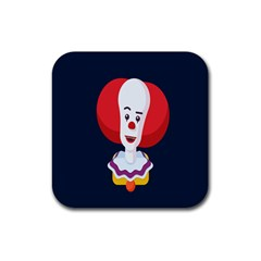 Clown Face Red Yellow Feat Mask Kids Rubber Square Coaster (4 pack)