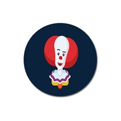 Clown Face Red Yellow Feat Mask Kids Magnet 3  (round)