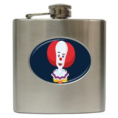 Clown Face Red Yellow Feat Mask Kids Hip Flask (6 Oz)