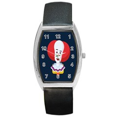 Clown Face Red Yellow Feat Mask Kids Barrel Style Metal Watch