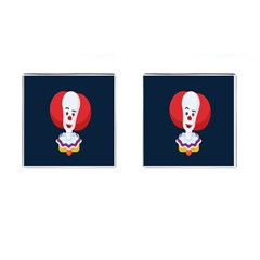 Clown Face Red Yellow Feat Mask Kids Cufflinks (square)