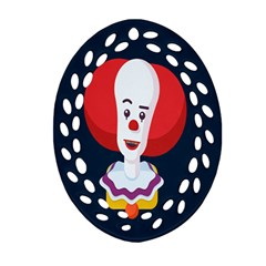 Clown Face Red Yellow Feat Mask Kids Ornament (Oval Filigree)