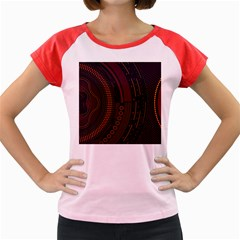 Creative Direction Illustration Graphic Gold Red Purple Circle Star Women s Cap Sleeve T-Shirt