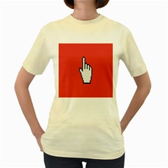Cursor Index Finger White Red Women s Yellow T Shirt