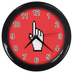 Cursor Index Finger White Red Wall Clocks (black)