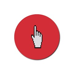 Cursor Index Finger White Red Rubber Coaster (Round)