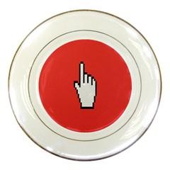 Cursor Index Finger White Red Porcelain Plates
