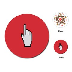 Cursor Index Finger White Red Playing Cards (round)