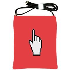 Cursor Index Finger White Red Shoulder Sling Bags