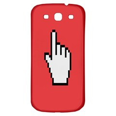 Cursor Index Finger White Red Samsung Galaxy S3 S III Classic Hardshell Back Case