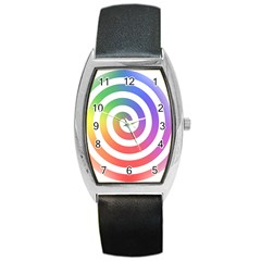 Circle Purple Blue Red Green Yellow Barrel Style Metal Watch