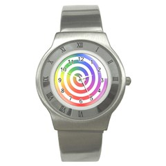 Circle Purple Blue Red Green Yellow Stainless Steel Watch