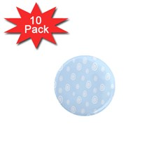 Circle Blue White 1  Mini Magnet (10 Pack)