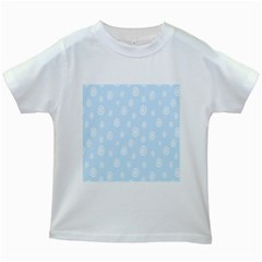 Circle Blue White Kids White T Shirts