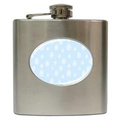 Circle Blue White Hip Flask (6 Oz)