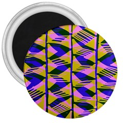 Crazy Zig Zags Blue Yellow 3  Magnets