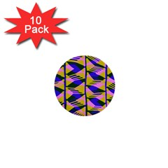 Crazy Zig Zags Blue Yellow 1  Mini Buttons (10 Pack)