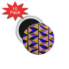 Crazy Zig Zags Blue Yellow 1 75  Magnets (10 Pack)