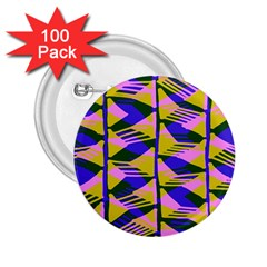 Crazy Zig Zags Blue Yellow 2 25  Buttons (100 Pack)
