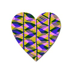 Crazy Zig Zags Blue Yellow Heart Magnet