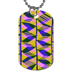 Crazy Zig Zags Blue Yellow Dog Tag (one Side)