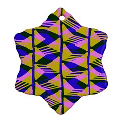 Crazy Zig Zags Blue Yellow Snowflake Ornament (two Sides)