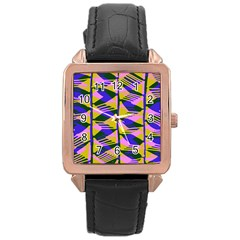 Crazy Zig Zags Blue Yellow Rose Gold Leather Watch