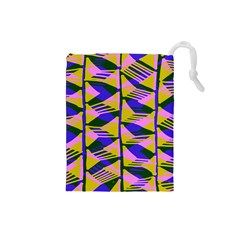 Crazy Zig Zags Blue Yellow Drawstring Pouches (Small)