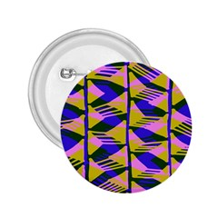 Crazy Zig Zags Blue Yellow 2 25  Buttons