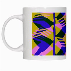 Crazy Zig Zags Blue Yellow White Mugs