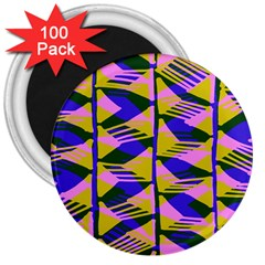 Crazy Zig Zags Blue Yellow 3  Magnets (100 Pack)