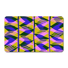 Crazy Zig Zags Blue Yellow Magnet (rectangular)