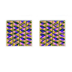 Crazy Zig Zags Blue Yellow Cufflinks (square)