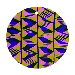 Crazy Zig Zags Blue Yellow Round Ornament (Two Sides)