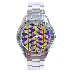 Crazy Zig Zags Blue Yellow Stainless Steel Analogue Watch