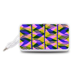 Crazy Zig Zags Blue Yellow Portable Speaker (White)