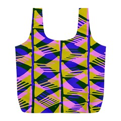 Crazy Zig Zags Blue Yellow Full Print Recycle Bags (L)