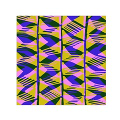 Crazy Zig Zags Blue Yellow Small Satin Scarf (square)