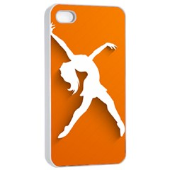 Dance Dancing Orange Girl Apple iPhone 4/4s Seamless Case (White)