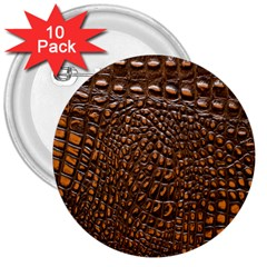 Crocodile Skin 3  Buttons (10 Pack)