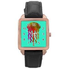 Jellyfish Blue Sq Rose Gold Leather Watch