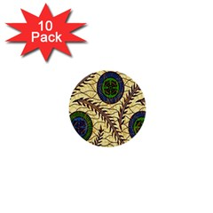 Fabrick Batik Brown Blue Green Leaf Flower Floral 1  Mini Buttons (10 Pack)