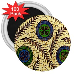 Fabrick Batik Brown Blue Green Leaf Flower Floral 3  Magnets (100 Pack)