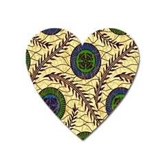 Fabrick Batik Brown Blue Green Leaf Flower Floral Heart Magnet