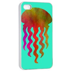 Jellyfish Blue Sq Apple Iphone 4/4s Seamless Case (white)
